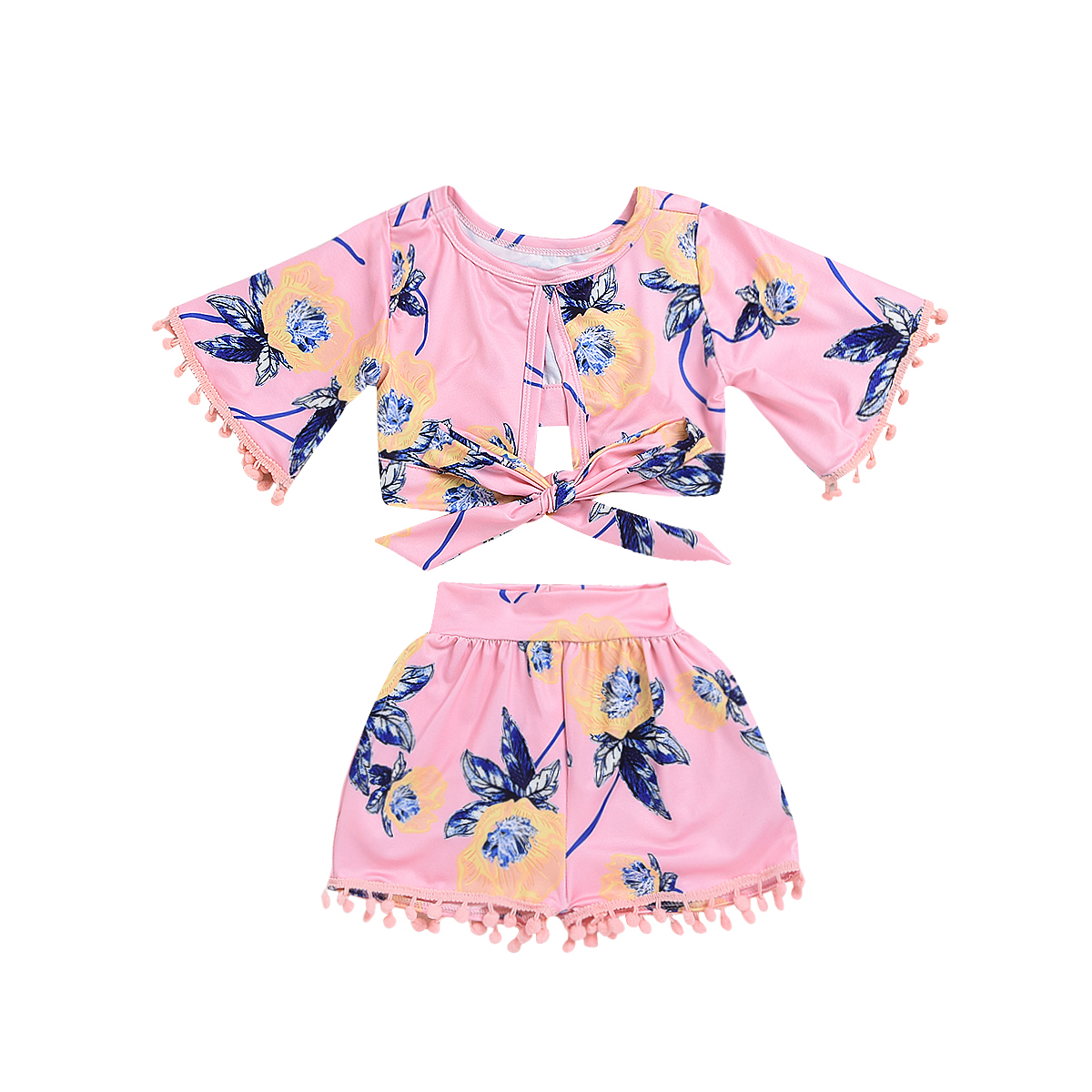 все цены на Pudcoco Toddler Girl Summer Clothing Set T-shirt Tops+Short Pants Outfits Kids Baby Girl Flower Tassel Clothes 2pcs онлайн