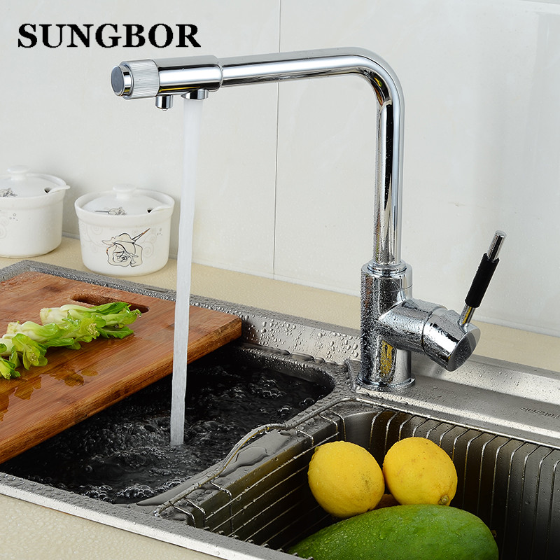 Drinking Water Filter Faucet Deck Mounted Mixer Valve Chrome Single Hole Purifier 3 Way Water Kitchen Faucet Mixer CF-9126L lindemann