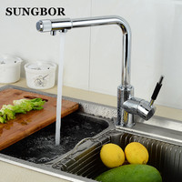 Drinking Water Filter Faucet Deck Mounted Mixer Valve Chrome Single Hole Purifier 3 Way Water Kitchen