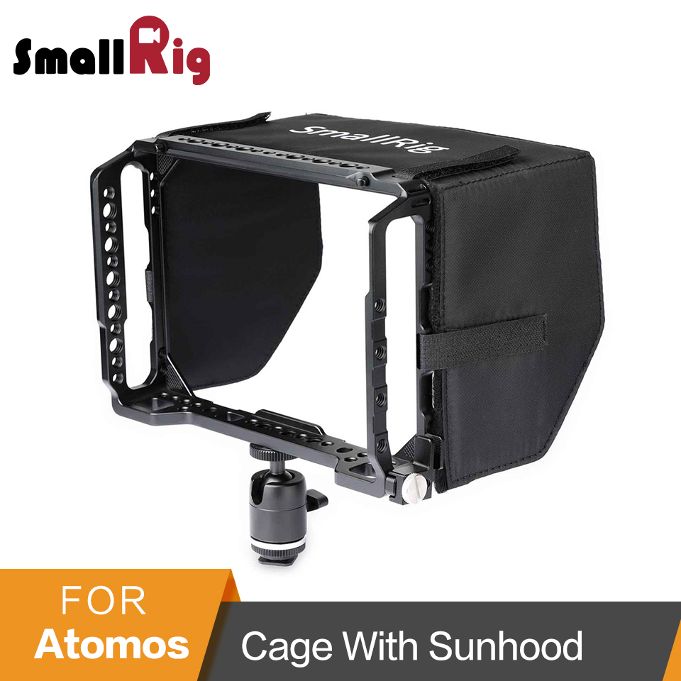 SmallRig Monitor Cage With Sun hood for Blackmagic Design Video Assist 7 Monitors With HDMI Clamp+Ball Head Kits 1988