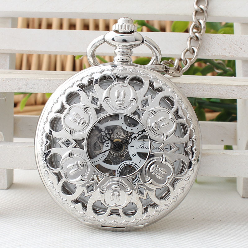 Steampunk Silver Mechanical Pocket Watch Men Vintage Skeleton Dial Retro Necklace Pocket Fob Watches With Chain Xmas Gift TJX091