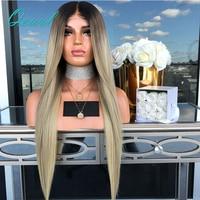 Ombre три тона блондинка Синтетические волосы на кружеве человеческих волос Парики Темно коричневый корни предварительно сорвал прямой пари