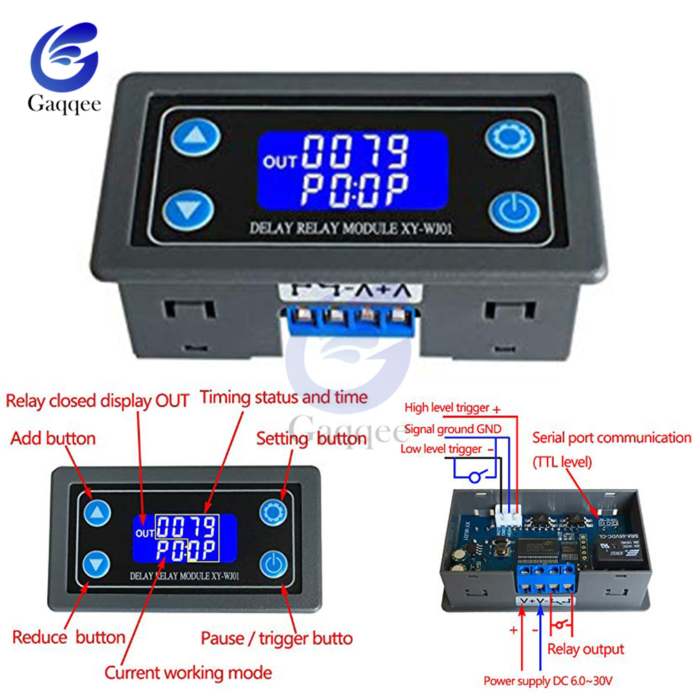 DC 12V LED Digital Time Delay Relay Module Programmable Timer Relay Control Switch Timing Trigger Cycle with Case for Indoor