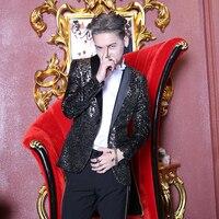 Новый Для мужчин корейский Тонкий блестками куртка костюм мода Slim Fit Бизнес Юбочные костюмы для женщин блейзер бренд партии для выступления
