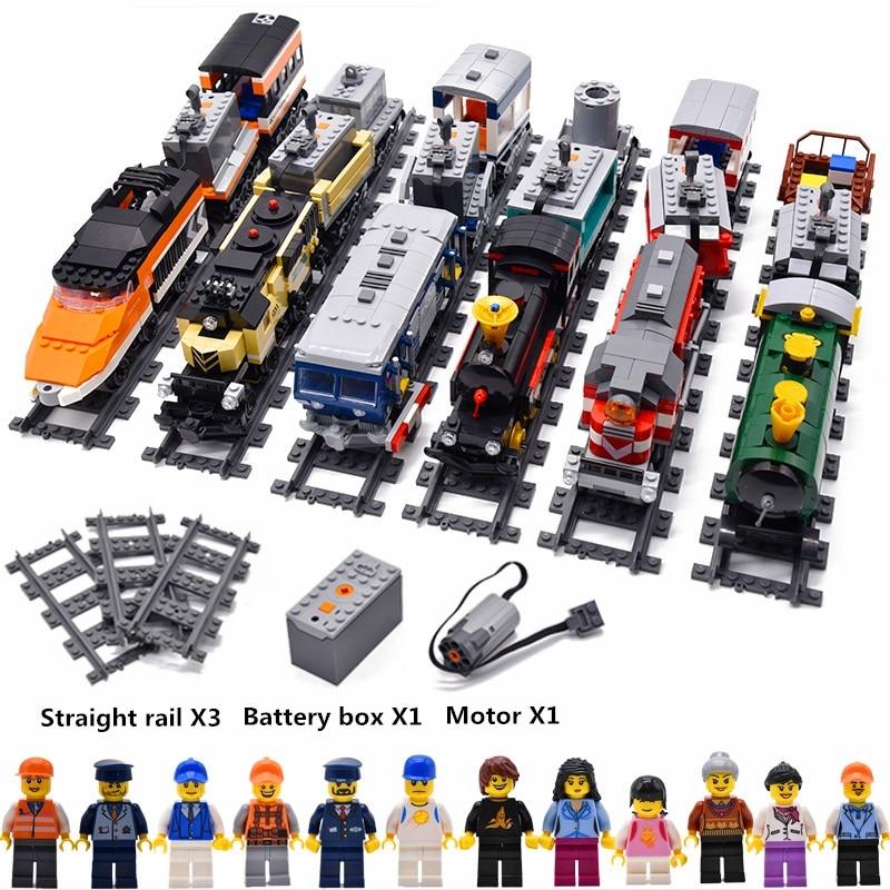 GBL City DIY Power Driven Diesel Train Track Rail Classic Model Toys Compatible Legoings Building Blocks Sets Kits Bricks Kids