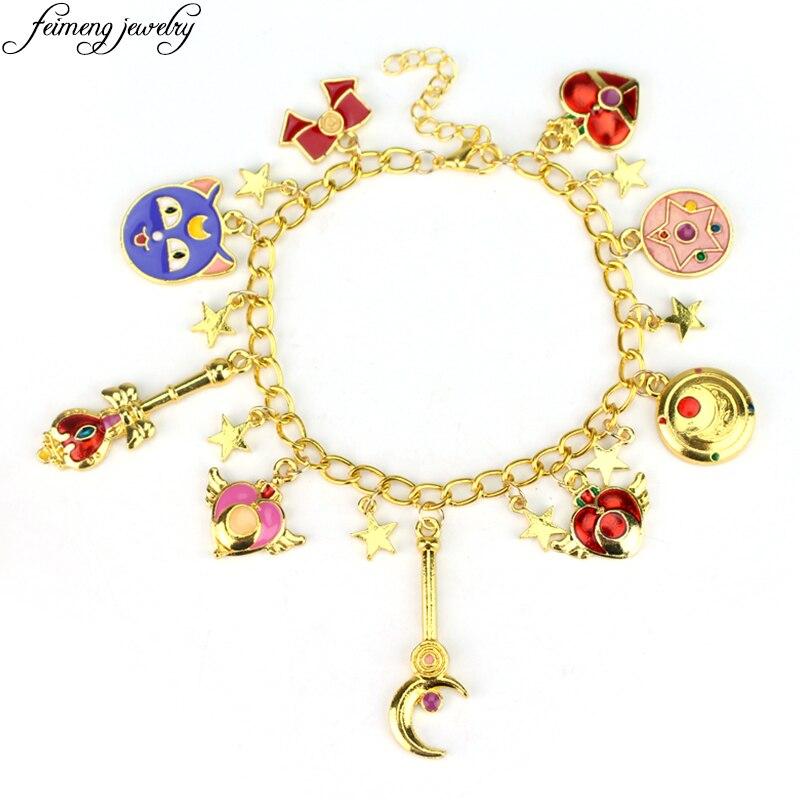 Sweet Anime Sailor Moon Charm Bracelet Luna Cat Bowknot Pentacle Stars Enamel Accessories Bracelets For Women Fashion Jewelry