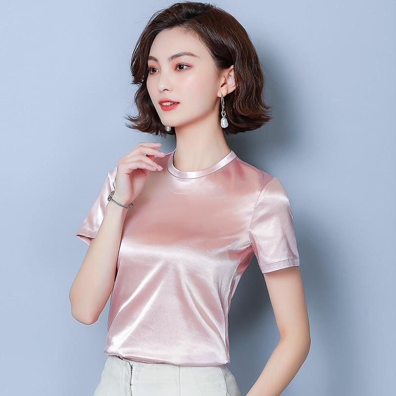Korean Fashion Silk Women Blouses Satin Short Sleeve Pink Women Shirts Plus Size XXL Blusas Femininas Elegante Ladies Tops