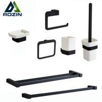 Luxury Black Bathroom Accessory Set Wall Mounted Brass Bath Hardware Sets Towel Bar Ring Tooth Brush Holder Soap Dish