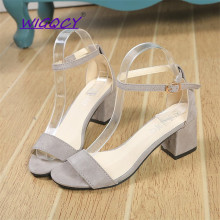 Open toe Suede Square heel High heel White sandals women 2019 summer shoes woman Fashion Buckle Strap Ankle Strap female shoes