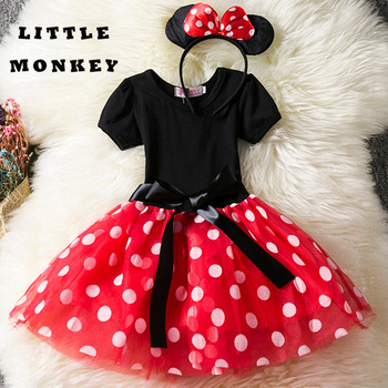 Elegant Kids Girls Cute Mouse Dresses 1 Year Birthday Party Dress for Cosplay Kid Costume Baby Girls Clothing for Kids 2-8T