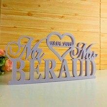 Индивидуальный Свадебный Настольный знак, персонализированный белый свадебный знак с фамилией, Свадебный декор стола, товары для вывесок Mr and Mrs