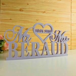 Wedding-Table-Sign Sign-Supplies Custom Last-Name White Mr Personalized with And