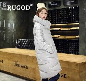 Image 5 - RUGOD zarif uzun yastıklı Parka palto İnce moda 2019 düğme cep uzun aşağı ceket kadın kalınlaşmak kış sıcak dış giyim kadın