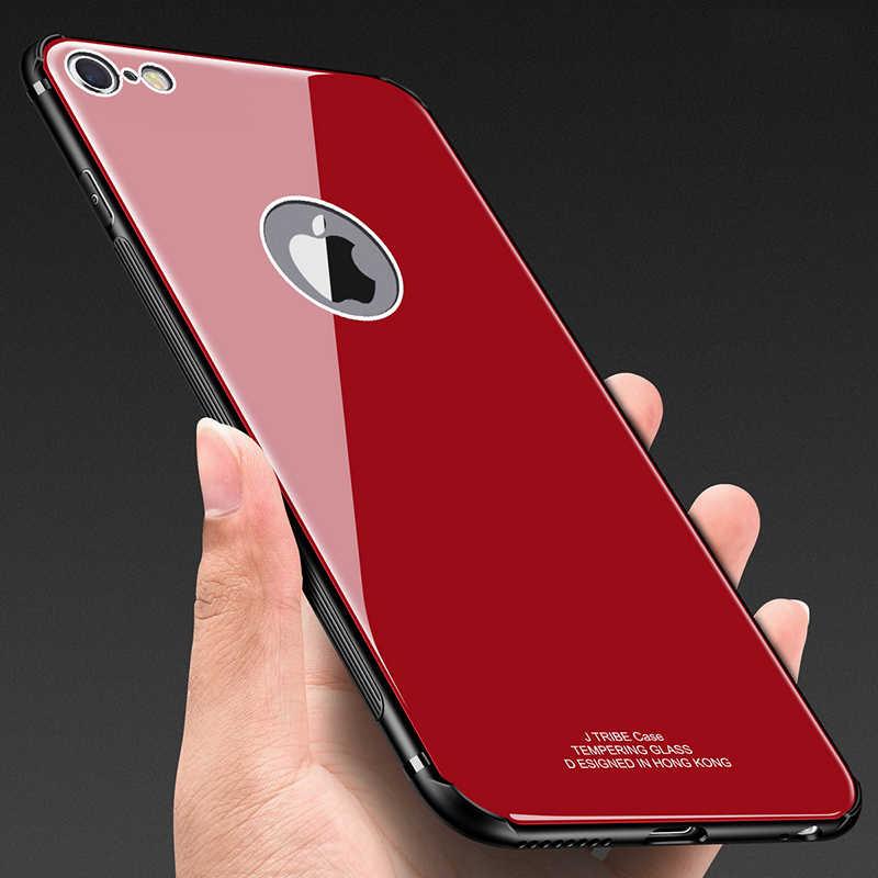 Vetro Temperato di Caso per Il Iphone 7 6 6 S 8 Più di X Xs Max Xr Antiurto Molle di Tpu Silicone Bordo duro Della Copertura Posteriore per Il Iphone 7 8 Più