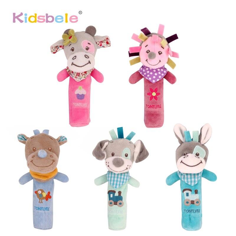 Yumuşak Peluş Çıngıraklar Oyuncaklar Için Çocuk Gıcırtılı Ses Öğrenme Kavrama Sevimli Yavru Ayı Hayvanlar Eğitici bebek oyuncakları 0-24 Ay