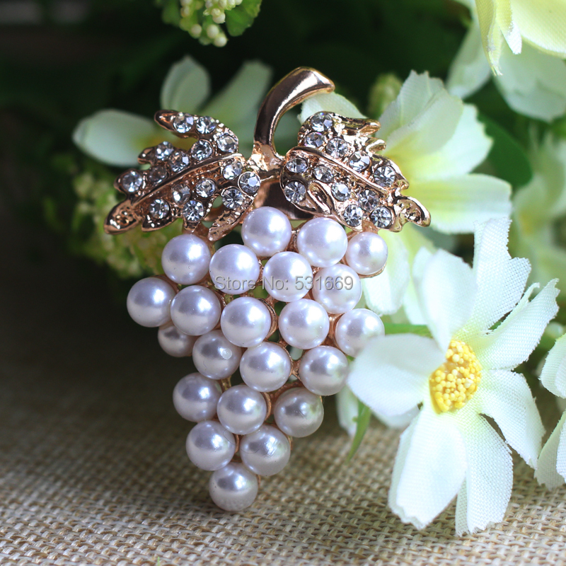 Druer Broche Guld-farve Imitation Pearl Broche Rhinestone Til Bryllup - Mode smykker - Foto 3