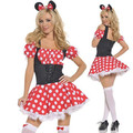 Red with white polka dot Mini Minnie Mouse Costumes Sexy Uniform Halloween cosplay costume Christmas dress