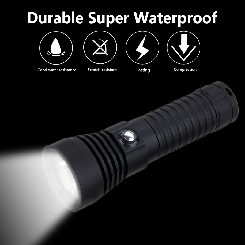 VastFire U2 Stepless Dimming 100M waterproof Diving Flashlight Tactical Hunting Torch in LED Flashlights from Lights Lighting