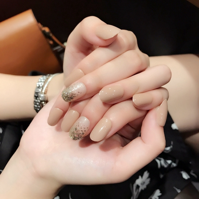 Sparkly Oval French Artificial Nail Design Tips Natural Short Fake ...