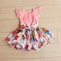 Розничная 2015 летний новый 2-6 лет 3 цвета Девушки кружева Печати Шифона платье принцессы детская одежда
