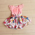 Retail 2015 summer new 2-6 years 3 colors Girls lace Print Chiffon princess dress children clothing