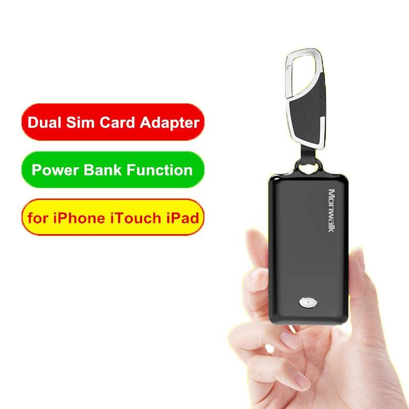 Adaptateur Portable Bluetooth double carte Sim pour iPhone XS Max XR X adaptateurs mobiles pour iPhone 6 6 S 7 8 Plus fonction de batterie externe