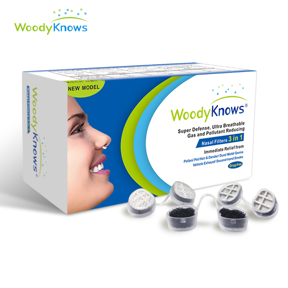 WoodyKnows 3 in 1 Nose Nasal Filters, Combines Super Defense, Ultra Breathable and Gas & Pollutant Reducing Nasal Filters