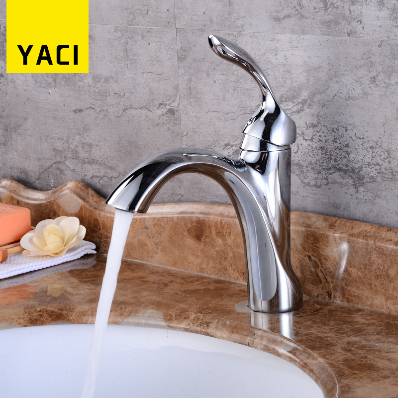 YACI Basin Faucet Modern Deck Mounted Bathroom Faucet Polished Chrome Sink Faucet Hot And Cold Water Mixer Tap Torneira XLT6004 new design deck mounted bathroom sink faucet hot and cold water bathroom sink faucet chrome
