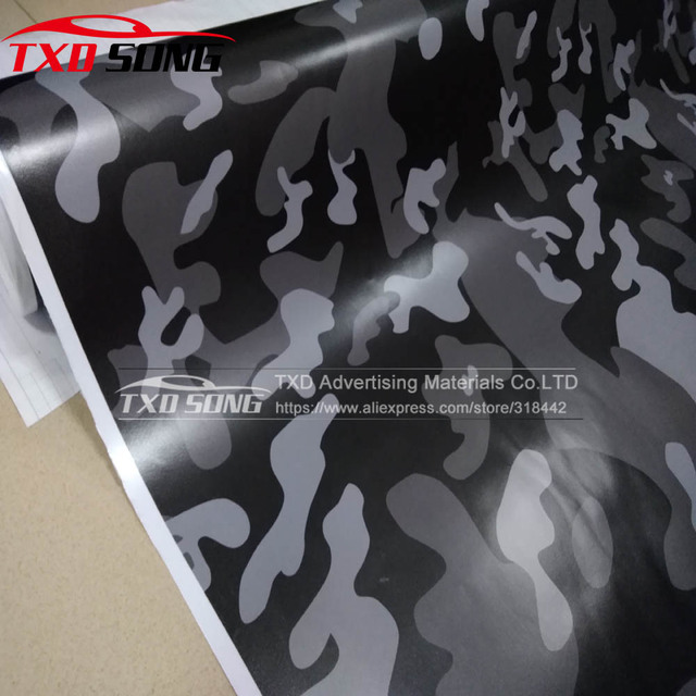 New Black White Grey Camo Vinyl Wrap Car Motorcycle Decal Mirror Full Body Camouflage