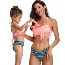 Family Matching Swimwear Mother Daughter Taseel Bikini Bathing Suit Brachwear Outfits Mom Kids Swimsuit