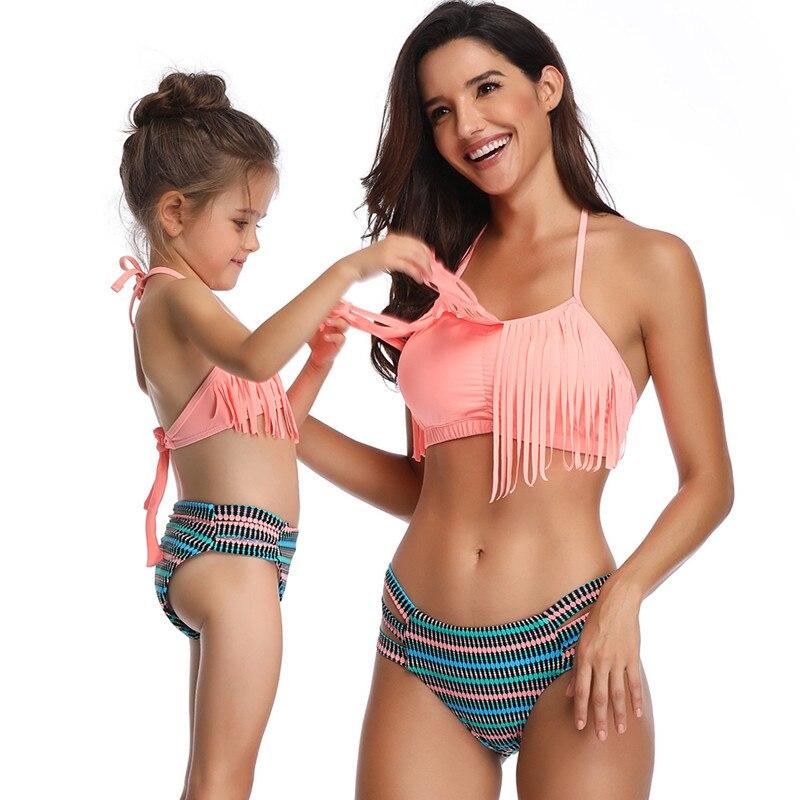 Family Matching Swimwear Mother Daughter Taseel Bikini Bathing Suit Brachwear Swimwear Family Matching Outfits Mom Kids Swimsuit