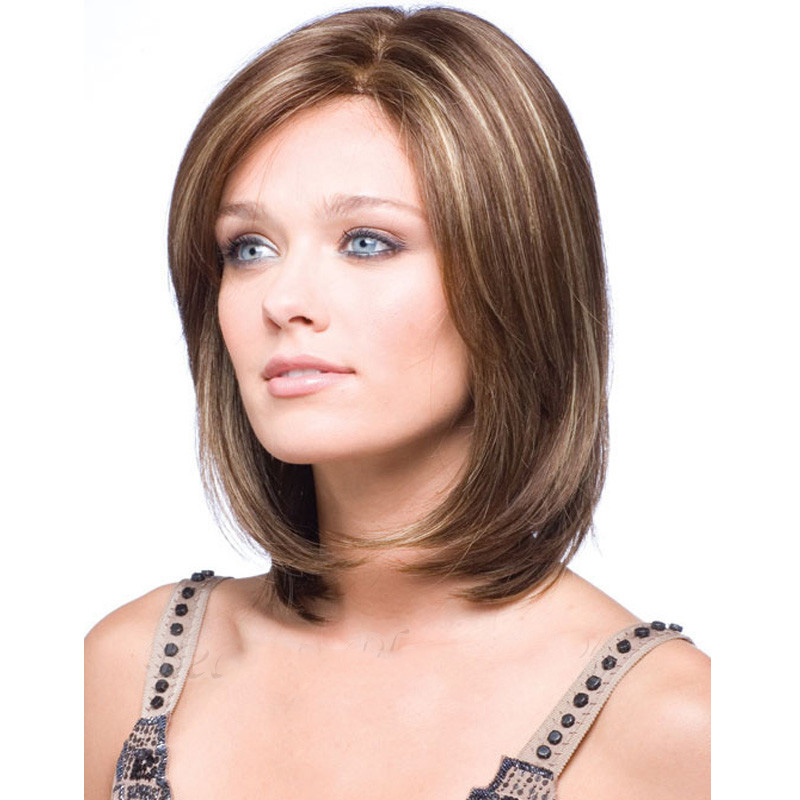 HAIRJOY Heat Resistant Synthetic Short Bobo Hair Wigs For Women Blonde Highlighted Wigs Perucas Cosplay Wigs
