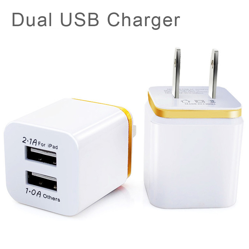 High Quality US Plug 5V 2.1/1A Dual USB AC USB Charger Wall Power Adapter for iPhone for Huawei for Smartphone for Cell Phones
