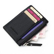 Men/Women Mini ID card Holders Business Credit Card Holder PU Leather Slim Bank Case Organizer Wallet Zipper Unisex
