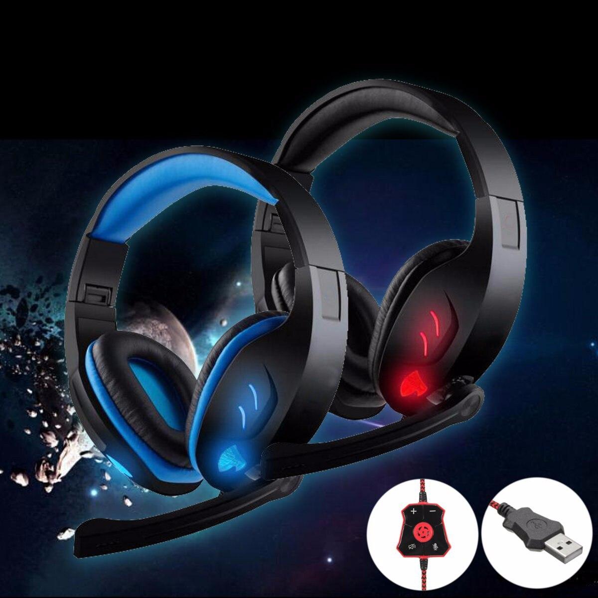 bilder für Neue Ankunft LED USB Gaming Headset 7,1 Stereo Faltbare Stirnband Kopfhörer Mit Mic Für PC Kopfhörer