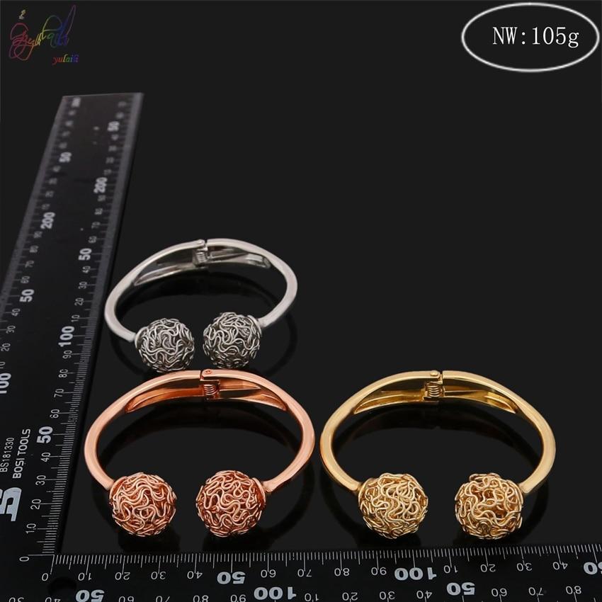 YULAILI 2018 nouveauté alliage matériau trois tons couleur or Bracelets Bracelets pour femmes - 6