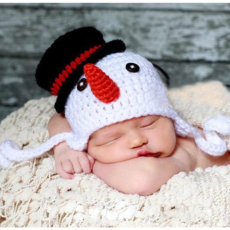 Handmade Knitted Baby Beanie Hat Crochet Pattern Childrens Snowman Cap Earflap X Xmas Hat Photo Porps Headwear 1pc H071