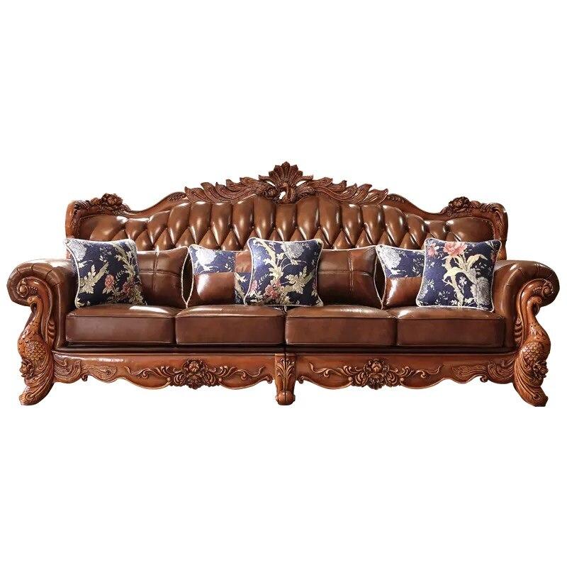 US $4116.0  Di lusso antico Europeo di design Francese Italia stile mobili  soggiorno in legno massello divano in pelle del sedile set 7 3 2 1 ...