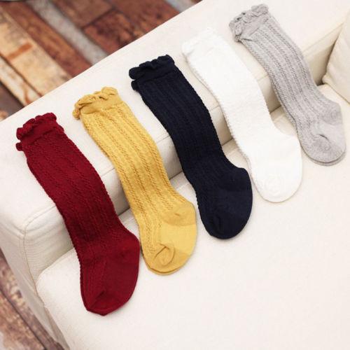 Quality Soft Cotton Baby Kids Toddlers Girls Knee High Socks Solid Ruffles Cute Leg Socks Girl 0-3T