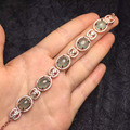 Estilo vintage jóias finas perfact 925 reais de prata esterlina 100% Natural pulseira jade verde pulseira para as mulheres à venda