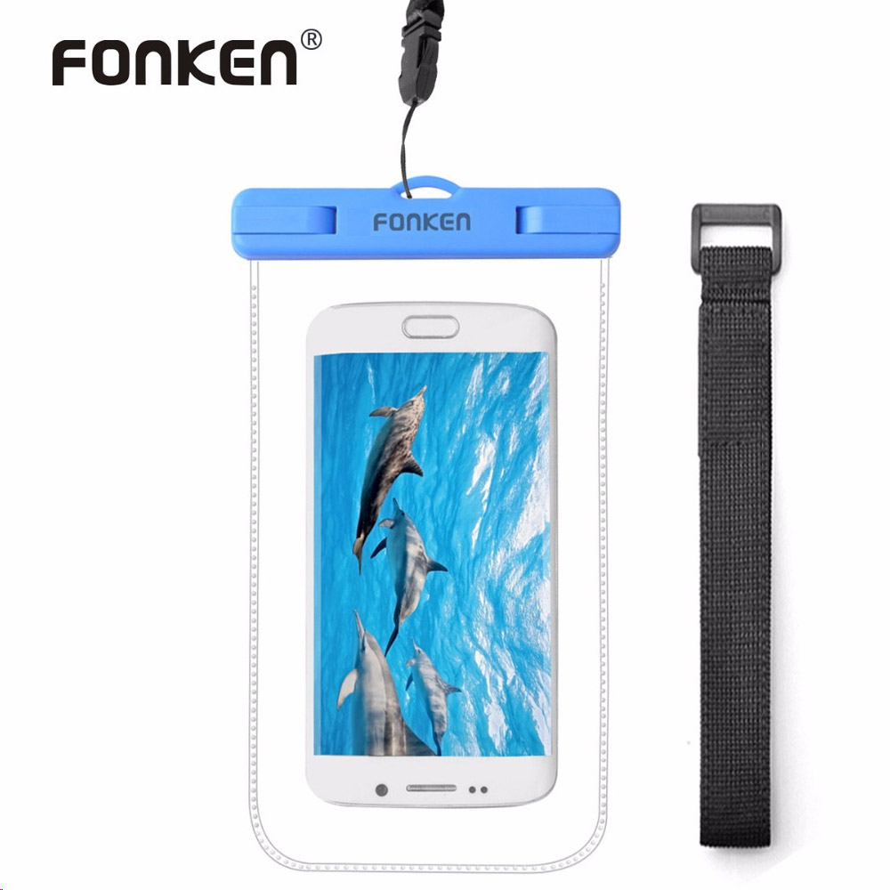FONKEN Universal Cover Waterproof <font><b>Case</b></font> For <font><b>Phone</b></font> Pouch Waterproof Bag with Arm Band IPX8 Underwater Diving Swimming Strap <font><b>Case</b></font>