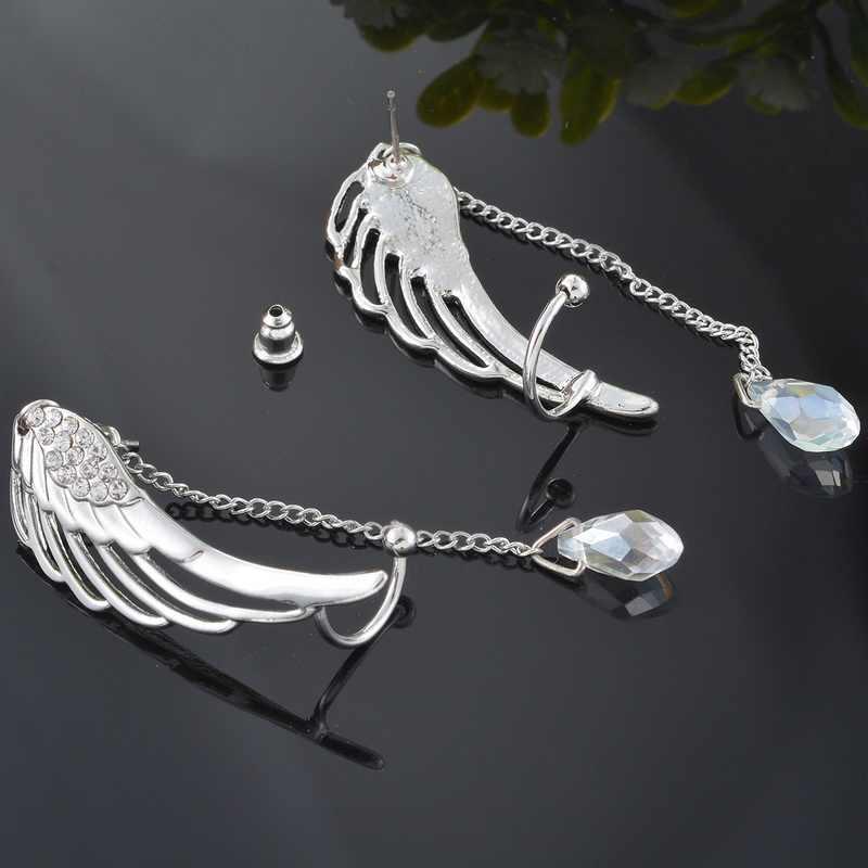 1 par de pendientes de Clip MJARTORIA con alas de Ángel de cristal Plata a la moda para mujer, pendientes largos con borlas para oreja y plumas de verano, joyería