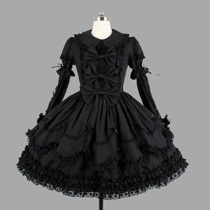 Image 1 - Черные хлопковые Классические платья Лолиты в готическом стиле, винтажная кружевная одежда Лолиты с оборками для девочек