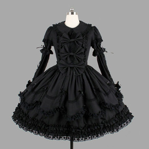Image 1 - Algodão preto Clássico Estilo Gothic Lolita Vestidos de Babados de Renda Do Vintage Lolita Roupas Para A Menina