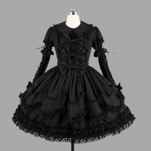 Black Cotton Classic Gothic Lolita Jurken Vintage Lace Ruches Lolita Kleding Voor Meisje