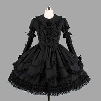 Black Cotton Classic Gothic Style Lolita Dresses Vintage Lace Ruffles Lolita Clothing For Girl - DISCOUNT ITEM  10 OFF Novelty & Special Use