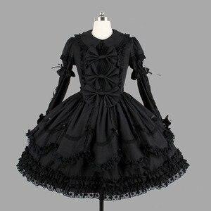 Image 1 - ผ้าฝ้ายสีดำคลาสสิกสไตล์โกธิค Lolita ชุดเดรสลูกไม้ Ruffles Lolita เสื้อผ้าสำหรับสาว