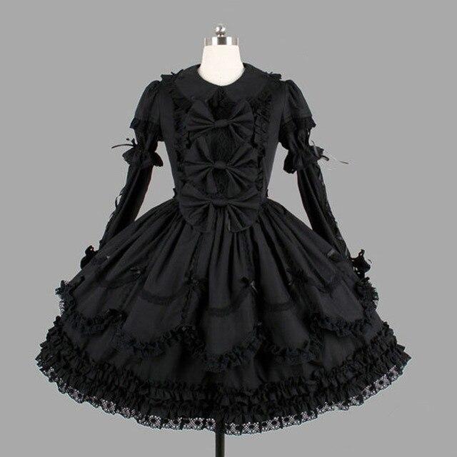 ผ้าฝ้ายสีดำคลาสสิกสไตล์โกธิค Lolita ชุดเดรสลูกไม้ Ruffles Lolita เสื้อผ้าสำหรับสาว