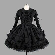 Màu đen Bông Cổ Điển Gothic Phong Cách Lolita Dresses Ren Cổ Điển Ruffles Lolita Quần Áo Cho Cô Gái
