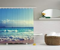 Ocean Shower Curtain Island Ocean Waves Seychelles Beach in Sunset Time Picture Print,Polyester Fabric Bathroom Set with Hooks